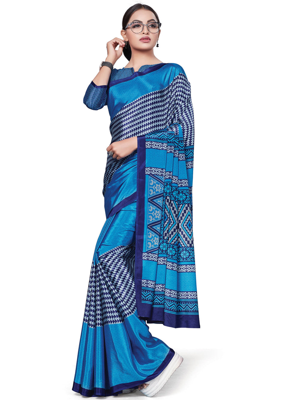 Blue Color Italian Crepe Printed Office Wear Sarees NYF-7707