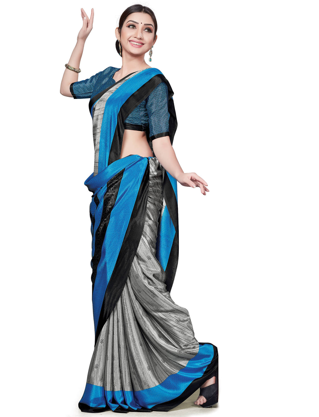 Grey & Blue Color Italian Crepe Printed Office Wear Sarees NYF-7708
