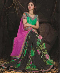 Black And Pink Color Georgette Special Occasion Sarees : Aisha Collection  YF-24916