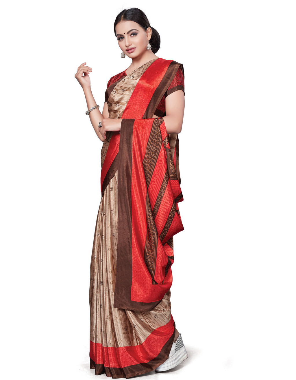 Cream & Red Color Italian Crepe Printed Office Wear Sarees NYF-7709