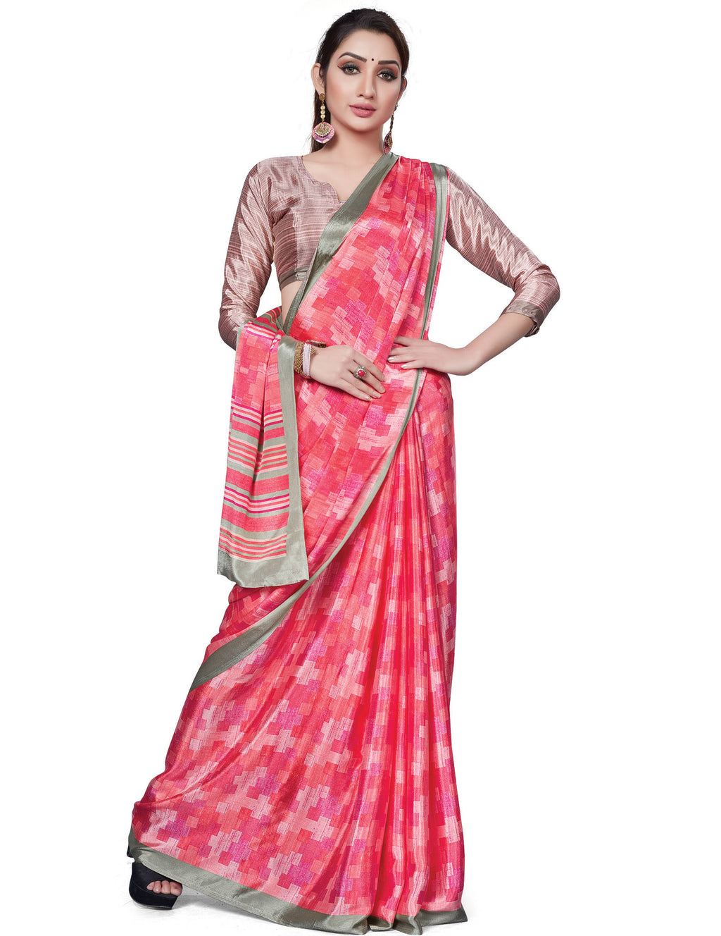 Pink Color Italian Crepe Printed Office Wear Sarees NYF-7710