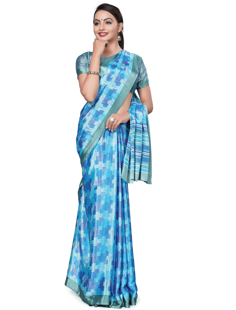 Blue Color Italian Crepe Printed Office Wear Sarees NYF-7711
