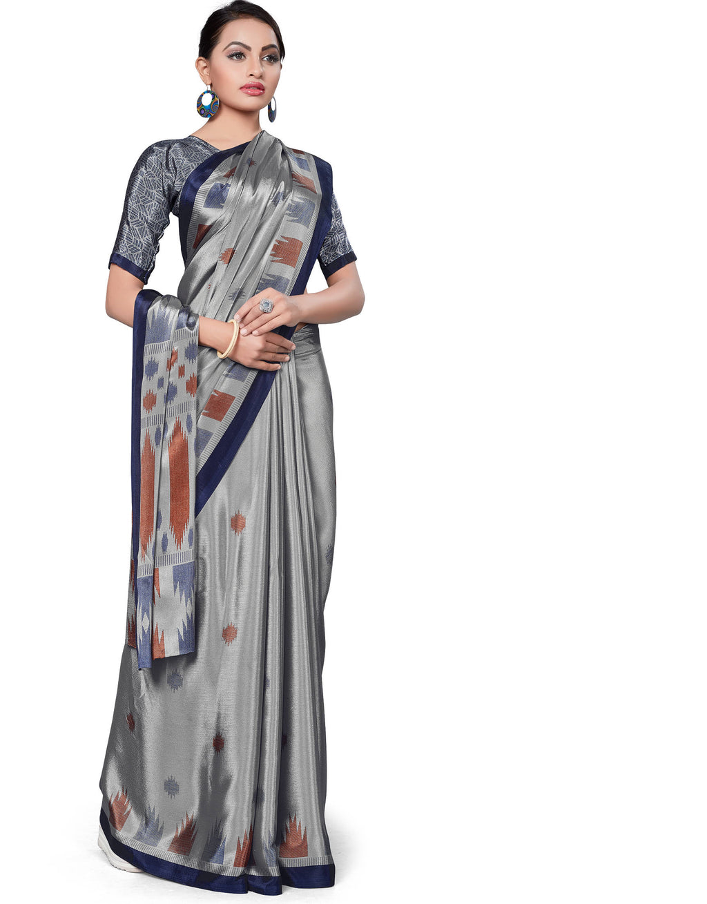 Grey Color Italian Crepe Printed Office Wear Sarees NYF-7712