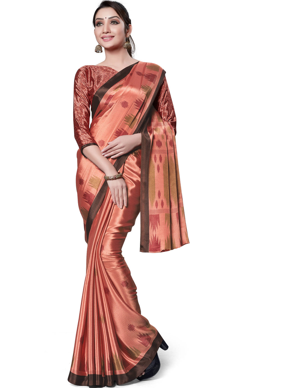Peach Color Italian Crepe Printed Office Wear Sarees NYF-7713