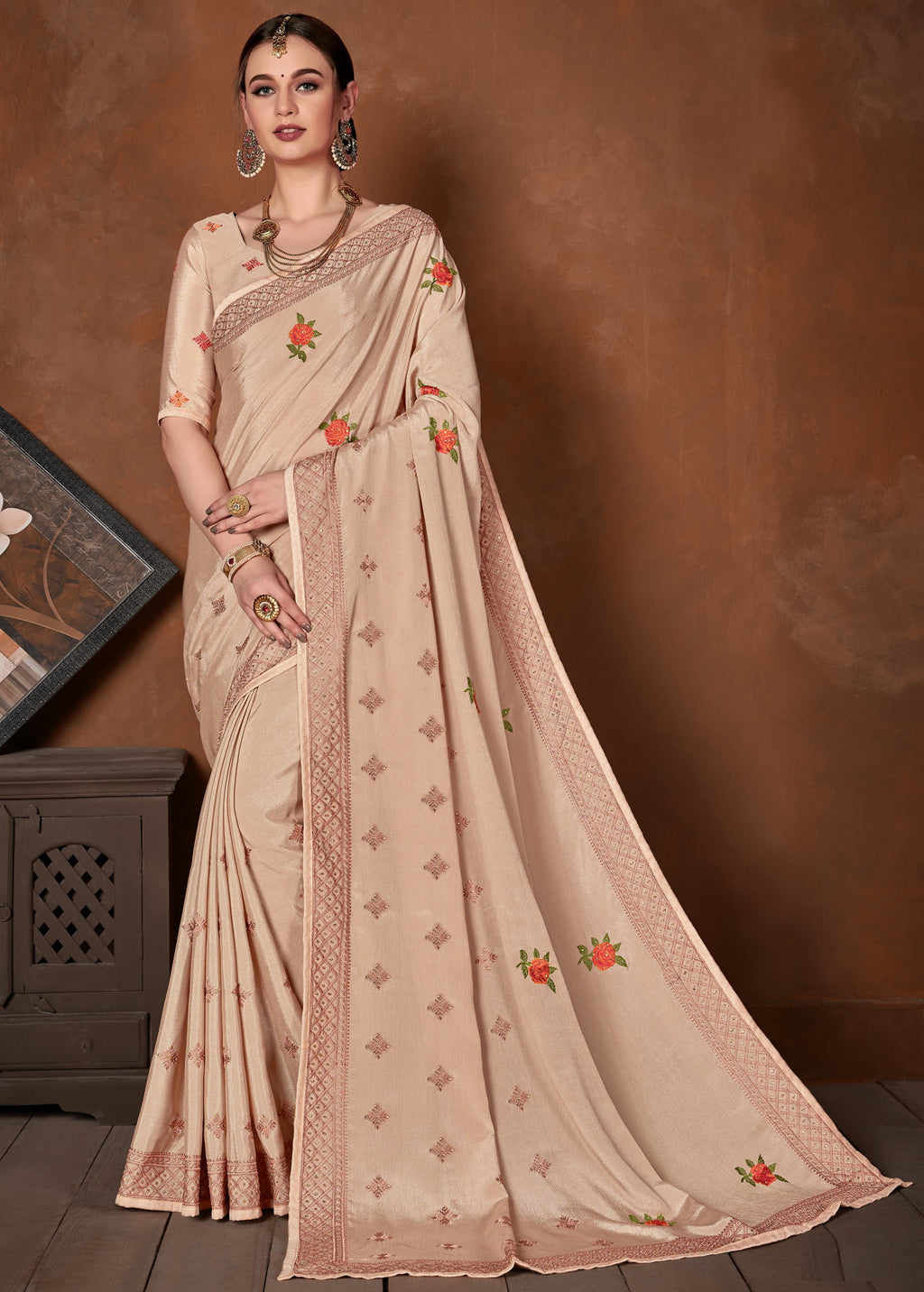 Peach Color Wrinkle Crepe Designer Party Wear Sarees NYF-5879