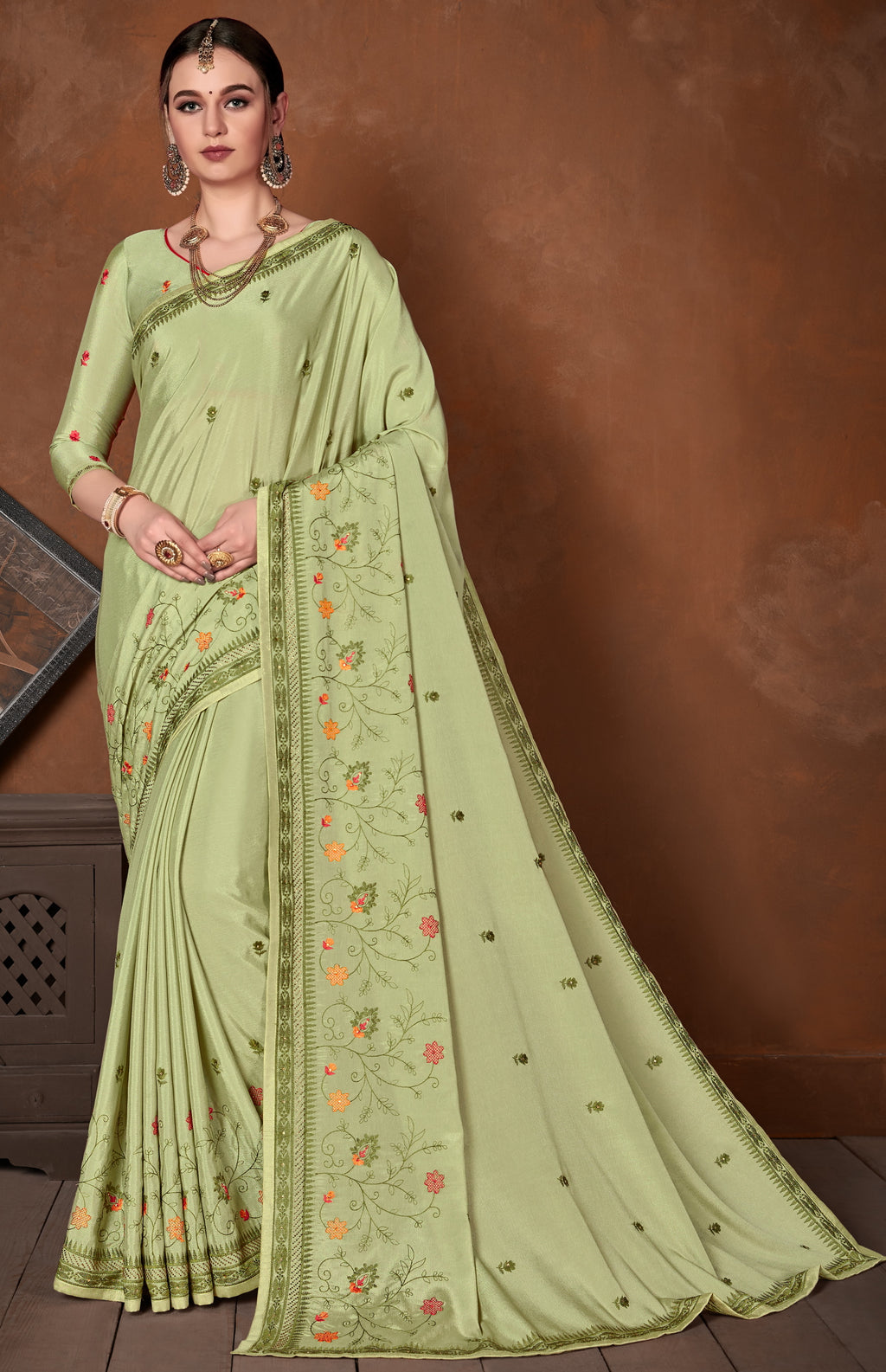 Pastel Green Color Wrinkle Crepe Designer Party Wear Sarees NYF-5880