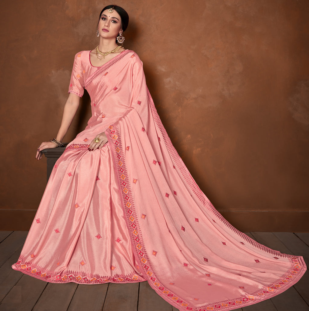Pink Color Wrinkle Crepe Designer Party Wear Sarees NYF-5881