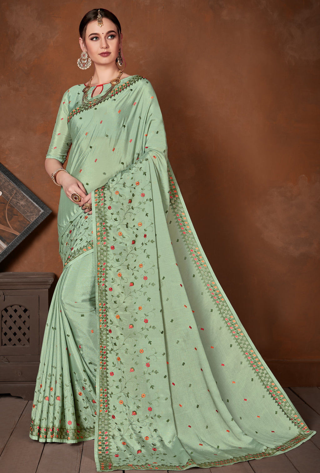 Aqua Green Color Wrinkle Crepe Designer Party Wear Sarees NYF-5882