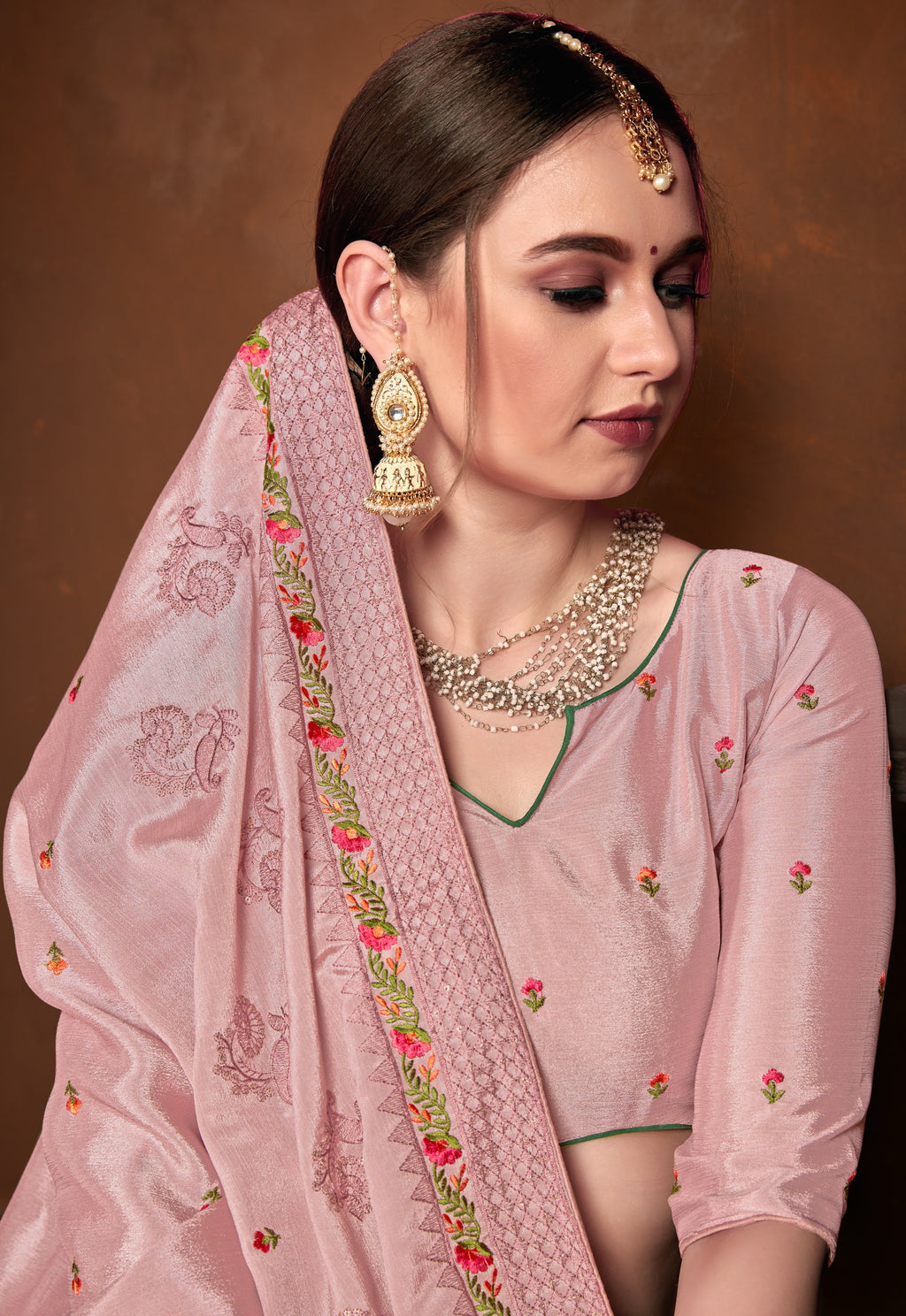 Pink Color Wrinkle Crepe Designer Party Wear Sarees NYF-5883