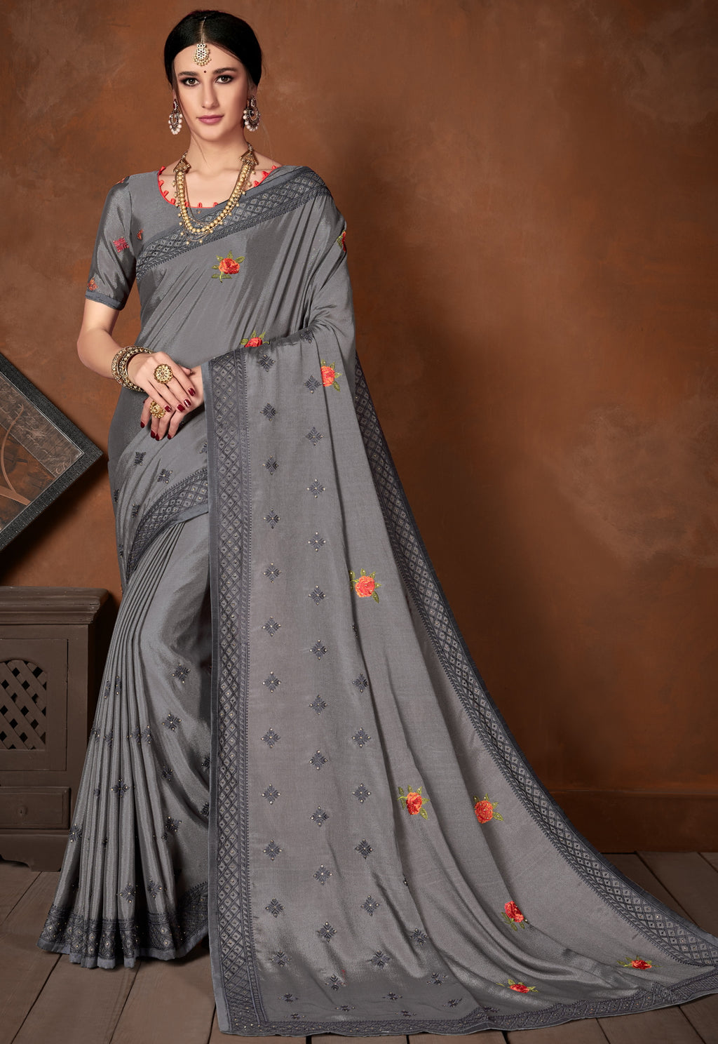 Grey Color Wrinkle Crepe Designer Party Wear Sarees NYF-5884