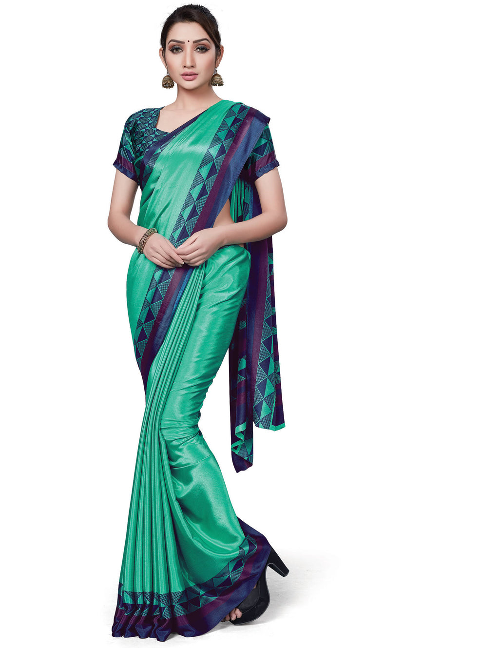 Sea Green Color Italian Crepe Printed Office Wear Sarees NYF-7714