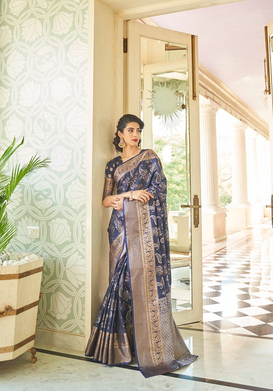 Navy Blue Color Soft Silk Traditional Wear Saree -  Devishi Collection YF#11061