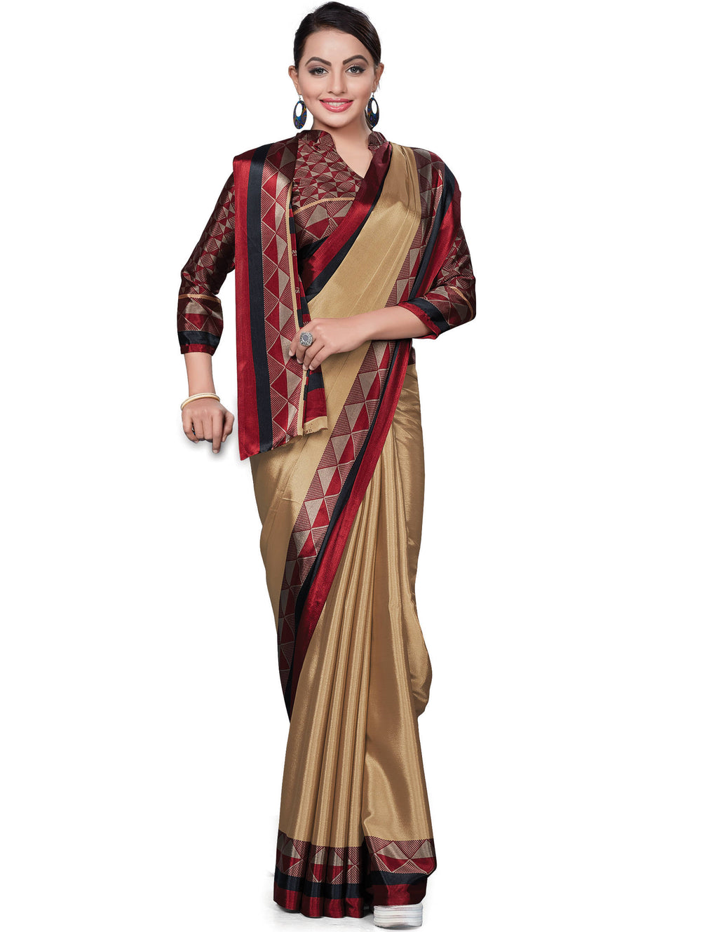 Light Coffee Color Italian Crepe Printed Office Wear Sarees NYF-7715