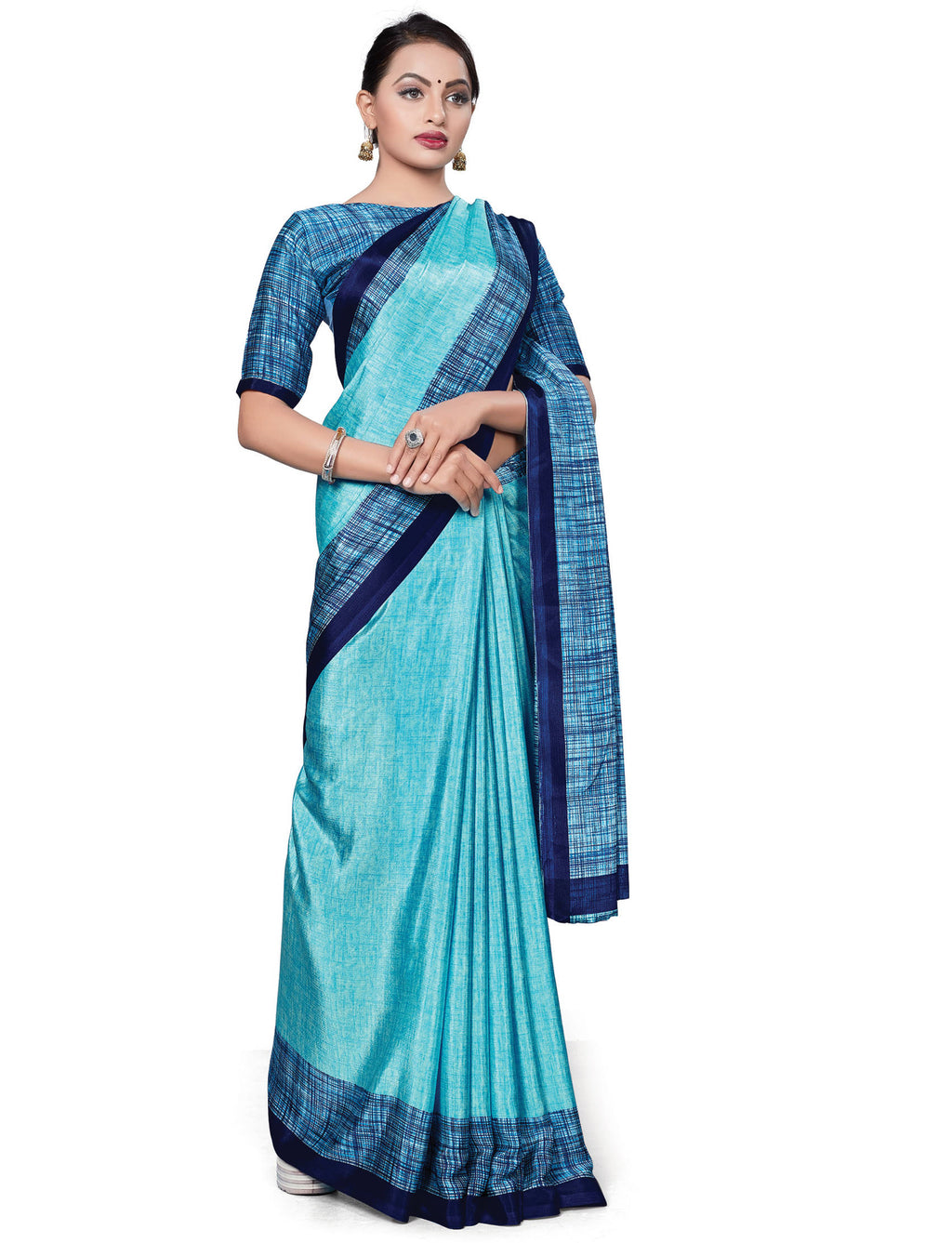 Aqua Blue Color Italian Crepe Printed Office Wear Sarees NYF-7716