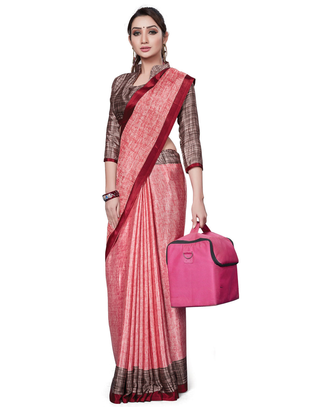 Pink Color Italian Crepe Printed Office Wear Sarees NYF-7717