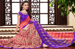 Pink & Purple Color Georgette Casual Party Sarees : Drakshi Collection  YF-45667
