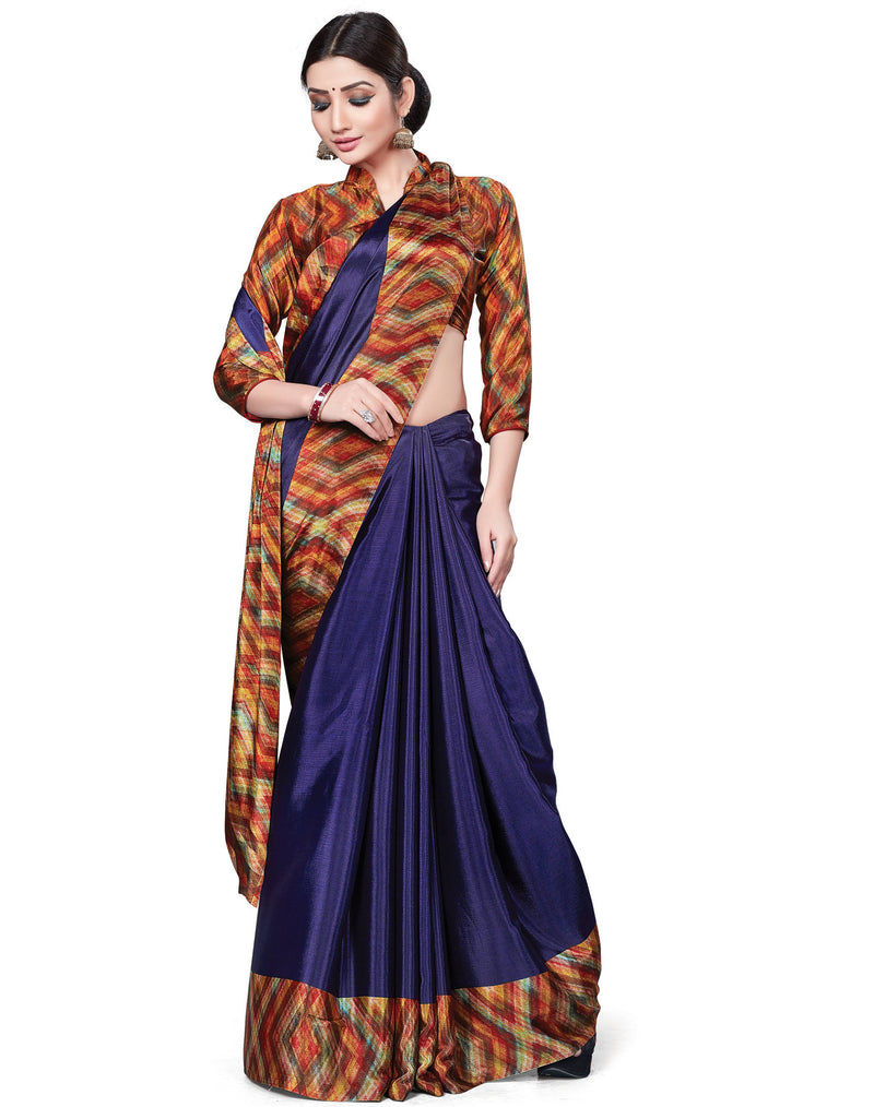 Blue Color Italian Crepe Printed Office Wear Sarees NYF-7718