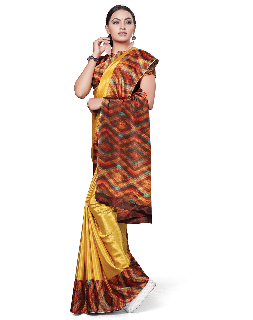 Yellow Color Italian Crepe Printed Office Wear Sarees NYF-7719