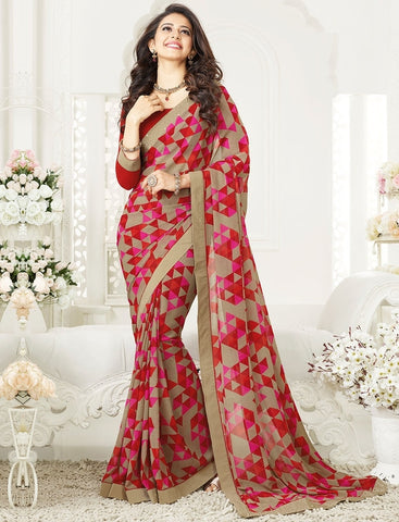 Red & Pink Color Georgette Party Wear Sarees : Mirtisha Collection  YF-43016