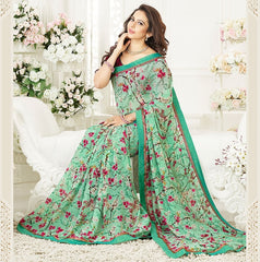 Green Color Georgette Party Wear Sarees : Mirtisha Collection  YF-43024