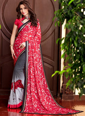 Red & Grey Color Georgette Casual Party Sarees : Drakshi Collection  YF-45671