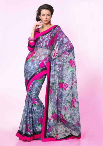Grey and Pink  Colour  Brasso  Material Sarees : Italiano Collection -  YF-14917