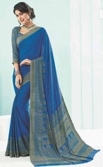 Blue Color Crepe Office Wear Sarees : Ansuiya Collection  YF-44083