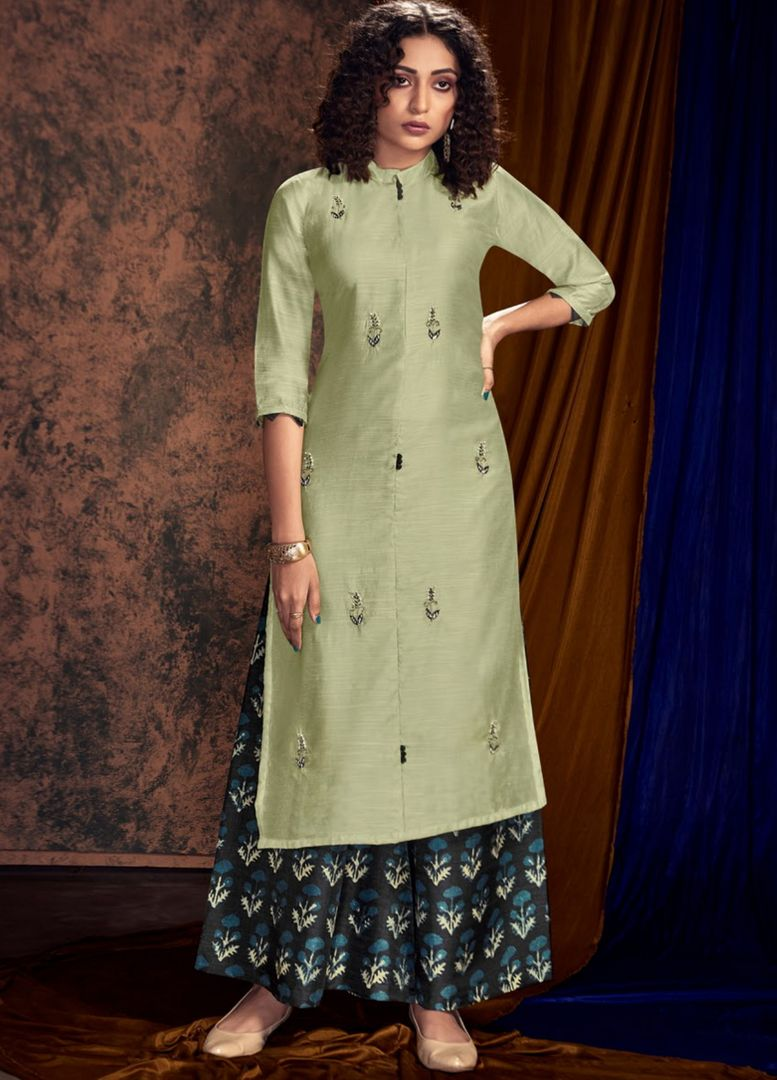 Pastel Green Color Satin Cotton Designer Kurtis With Palazzo NYF-4908
