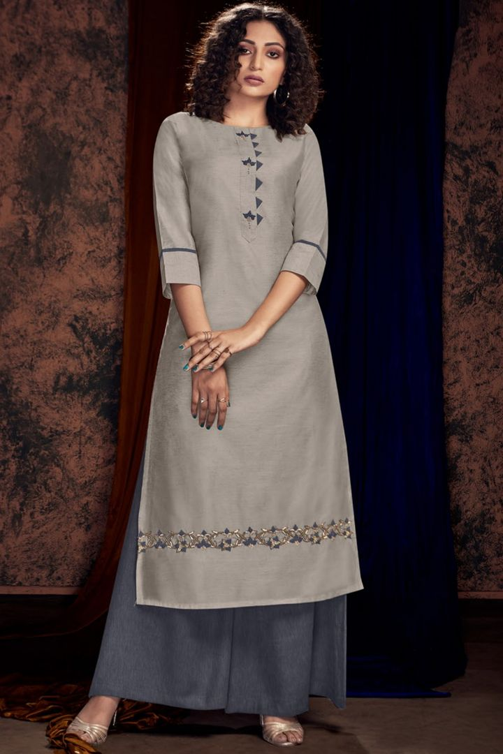 Grey Color Satin Cotton Designer Kurtis With Palazzo NYF-4912
