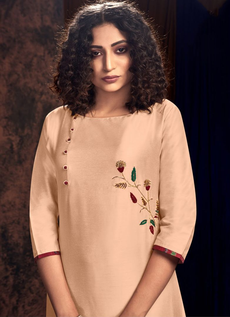 Peach Color Art Silk Designer Kurtis With Palazzo NYF-4920