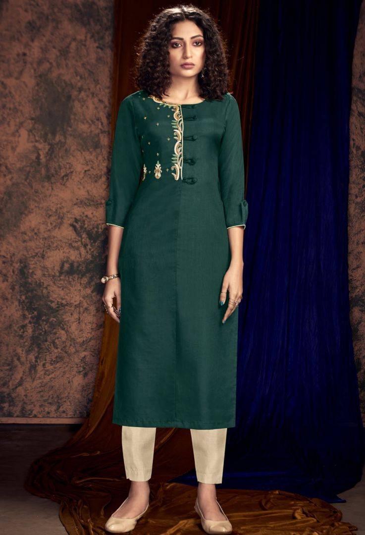Green Color Art Silk Designer Kurtis With Palazzo NYF-4924