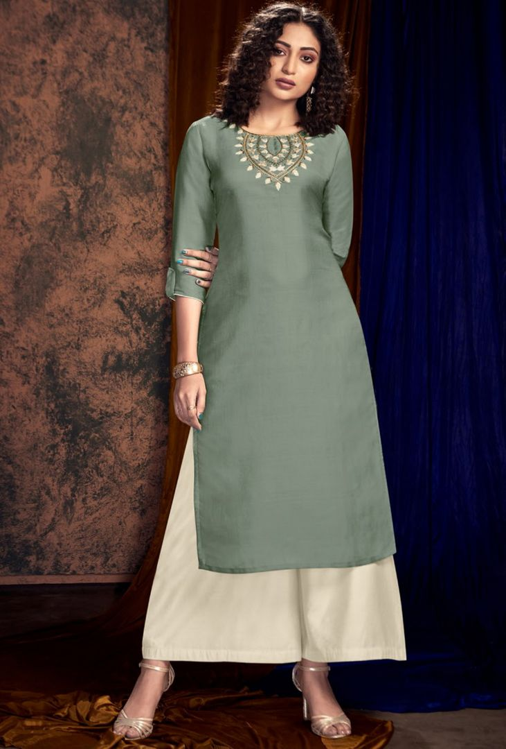 Grey Color Satin Silk Designer Kurtis With Palazzo NYF-4928