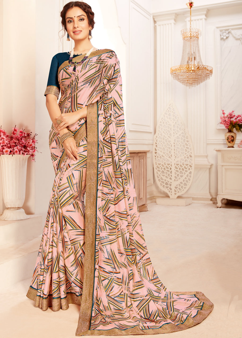 Pink Color Crepe Georgette Trendy Casual Party Sarees NYF-6331