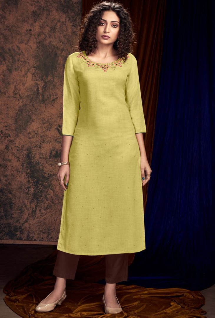 Lime Green Color Slub Satin Designer Kurtis With Palazzo NYF-4932