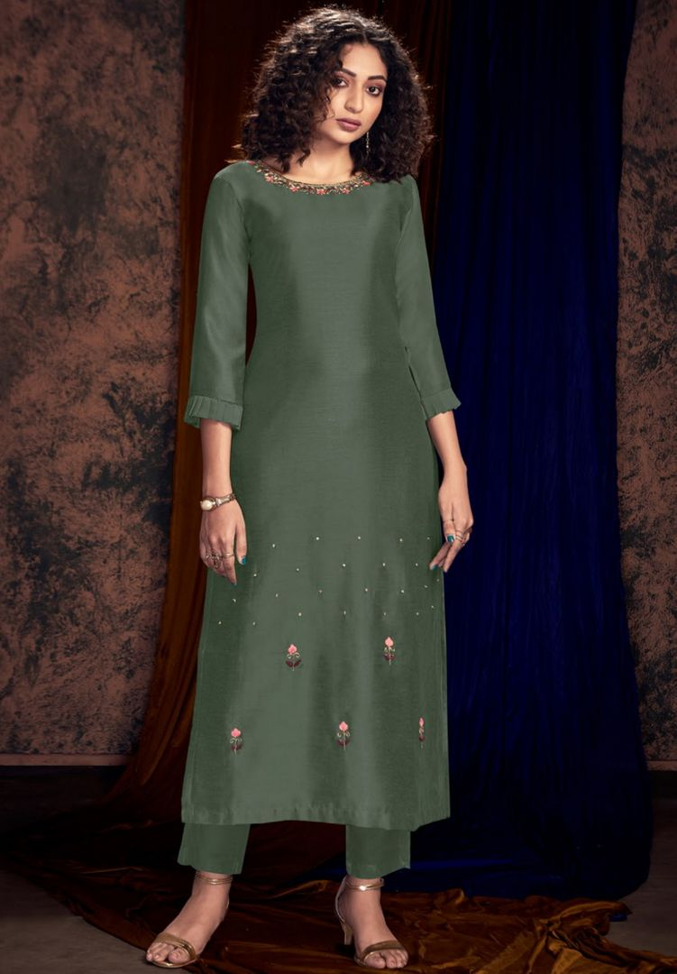 Greenish Grey Color Art Silk Designer Kurtis With Palazzo NYF-4936