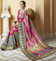 Pink & Grey Color Art Jamdani Silk Festival & Party Wear Sarees : Brinda Collection  YF-44496