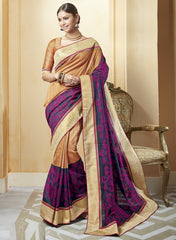 Light Orange, Pink & Blue Color Art Salem Silk Festival & Party Wear Sarees : Brinda Collection  YF-44498