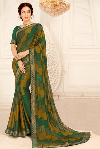 Orange & Grey Color Silk Cotton Casual Party Sarees : Vaigya Collection  YF-45167