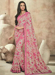 Pink Color Twist Tusser Party Wear Sarees : Trinaina Collection  YF-45373