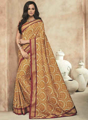 Mustard Yellow Color Twist Tusser Party Wear Sarees : Trinaina Collection  YF-45375