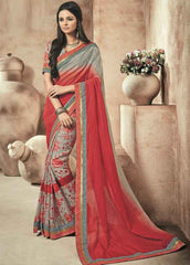 Grey And Red Color Twist Tusser Party Wear Sarees : Trinaina Collection  YF-45379