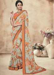 Mustard Orange And Aqua Green Color Twist Tusser Party Wear Sarees : Trinaina Collection  YF-45382