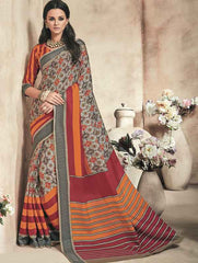 Orange And Red Color Twist Tusser Party Wear Sarees : Trinaina Collection  YF-45384