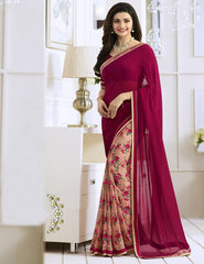 Magenta & Peach Color Georgette Party Wear Sarees : Vivita Collection  YF-46601
