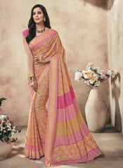 Yellow And Pink Color Twist Tusser Party Wear Sarees : Trinaina Collection  YF-45387