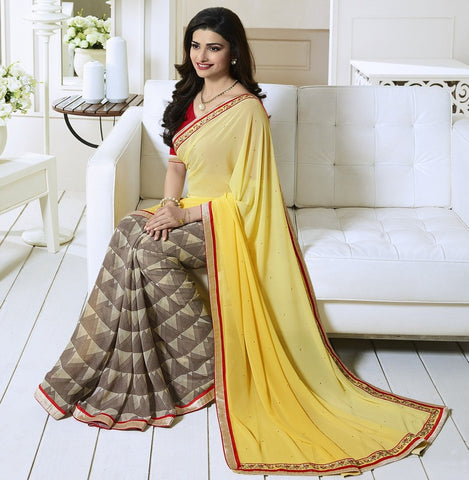 Yellow & Light Brown Color Georgette Party Wear Sarees : Vivita Collection  YF-46603