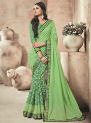Green Color Twist Tusser Party Wear Sarees : Trinaina Collection  YF-45389
