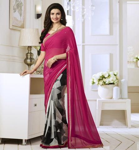 Pink, Off White & Black Color Georgette Party Wear Sarees : Vivita Collection  YF-46604