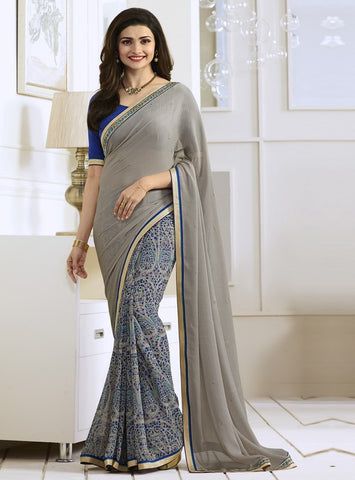 Grey & Blue Color Georgette Party Wear Sarees : Vivita Collection  YF-46605