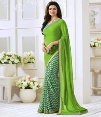 Green Color Georgette Party Wear Sarees : Vivita Collection  YF-46606